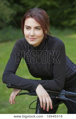 Mountain Bike Girl Having Break