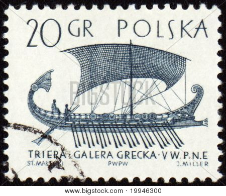 Greek Galley Trier On Post Stamp