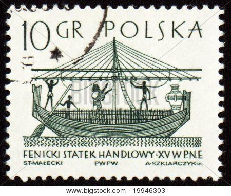 Phoenician Merchant Ship On Post Stamp