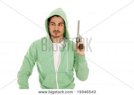 Man In Gren With Gun Up