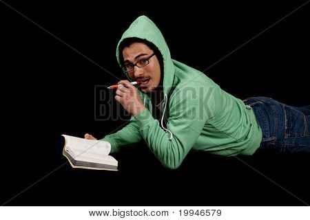 Man In Green With Book