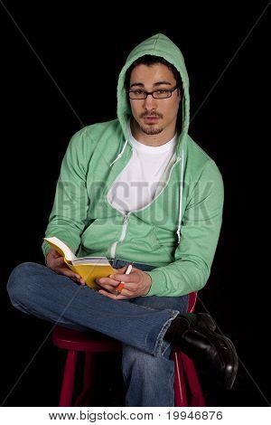 Man Green Reading Looking
