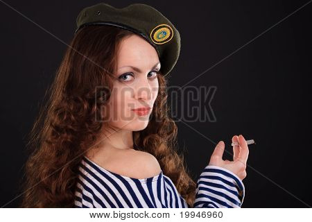 Girl In A Military Beret