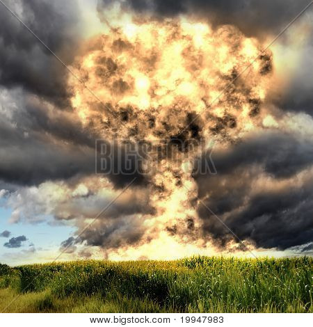 Nuclear explosion in an outdoor setting