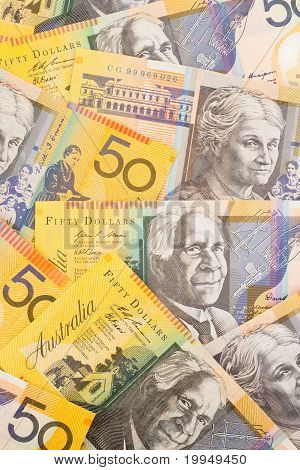 Australian Currency $50 Banknotes Background