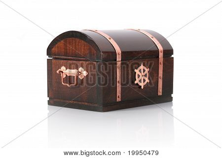 Closed Wooden Chest With Reflection