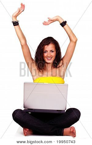 Happy female with laptop