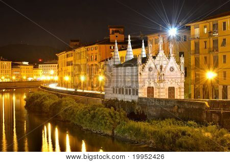 Church Santa Maria De La Spina And Arno River At Night, Pisa, Tuscany, Italy