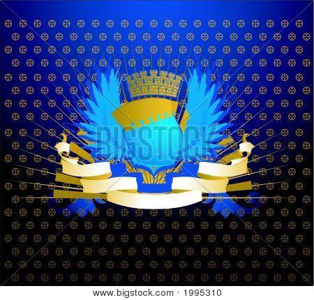 Blue Gold Shield On Ornate Dark Background.