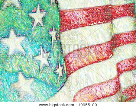 USA Flag in Colored Pencil Sketch - American Flag Close-up