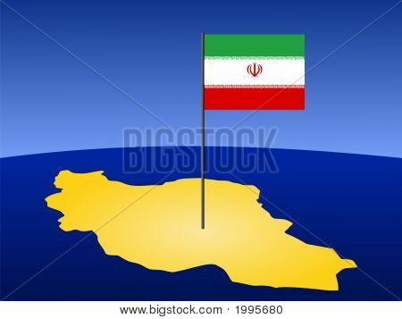 Map Of Iran With Flag