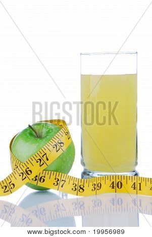 Diet Weight  With Tape Measure Organic Green Apple Juice