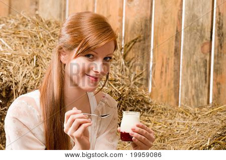 Young Healthy Woman With Natural Yogurt Country