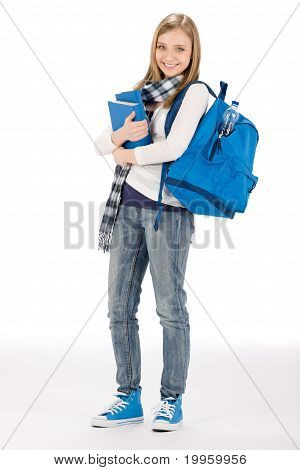 Student Teenager Woman With Schoolbag Book