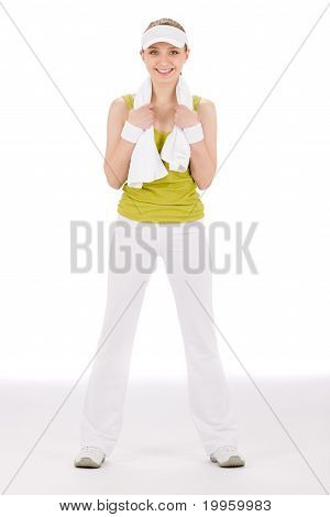 Fitness Teenager Woman In Sportive Outfit Hold Towel