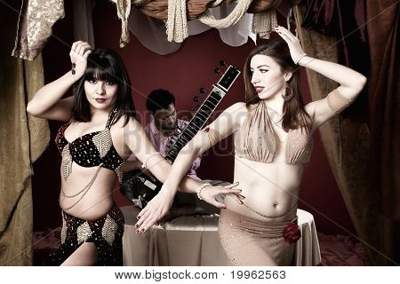Beautiful Belly Dancers With Sitar Player
