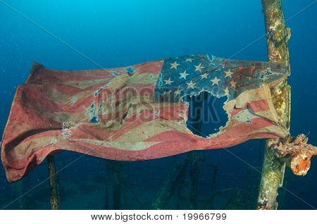 American Flag on a Shipwreck