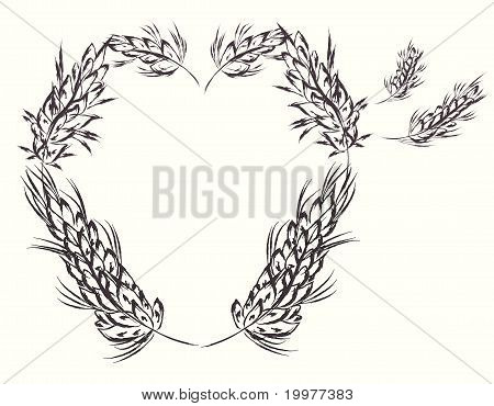 Heart with wheat design elements