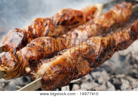 Grilled Liver Kebab Wrapped In Sheeps Stomach