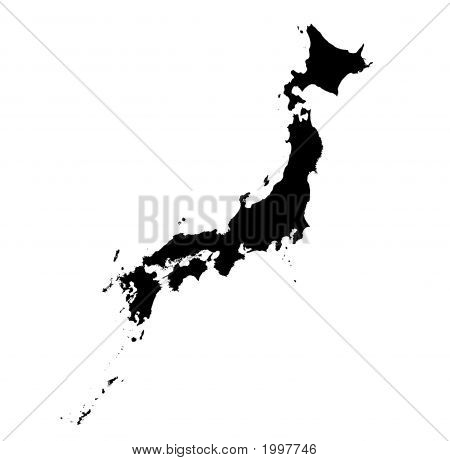 Detailed B/W Map Of Japan