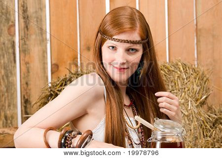 Red-hair Hippie Woman Have Breakfast In Barn