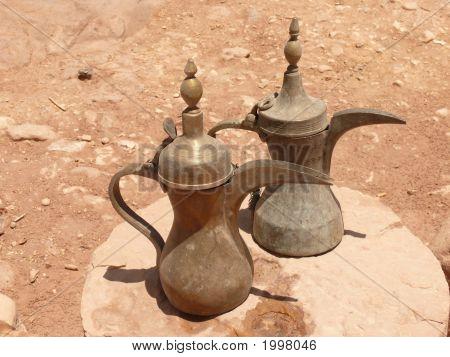 Stylish Brass Kettles, Jordanian Craftmanship, Petra, Jordan