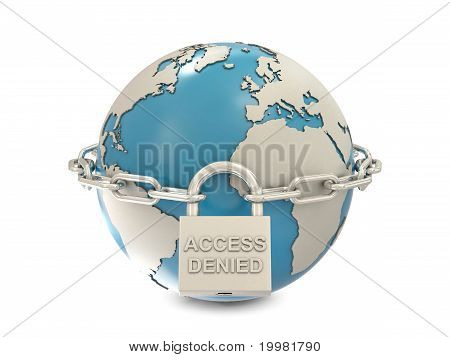 Earth, chain and closed padlock with access denied text