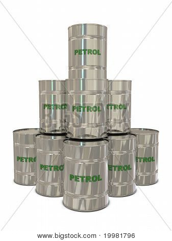 Petrol silver cans in pyramid