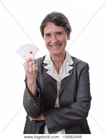 mature lady showing four aces