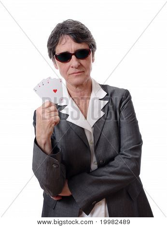 lady showing four aces