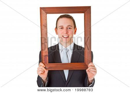 Businessman With Wooden Frame