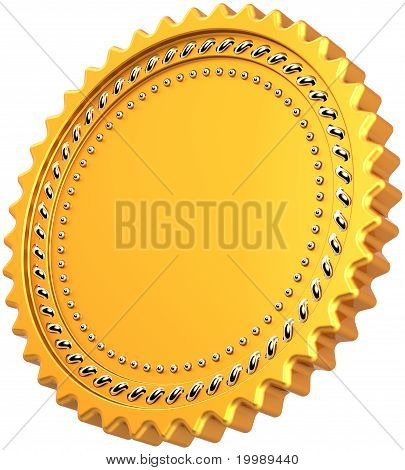 Award medal blank seal golden with silver decor