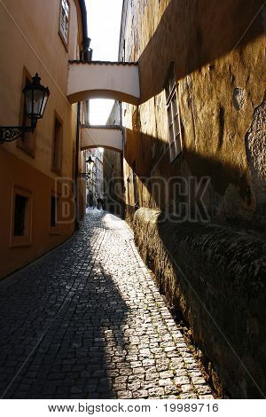 Romantic Street In Prague, Czech Republic