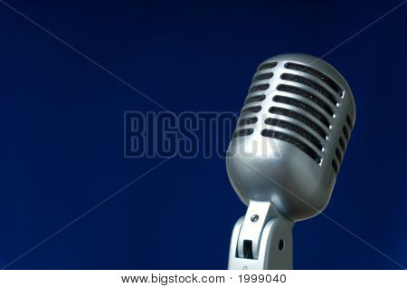 Microphone On Blue
