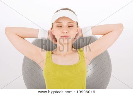 Fitness Teenager Woman With Closed Eyes