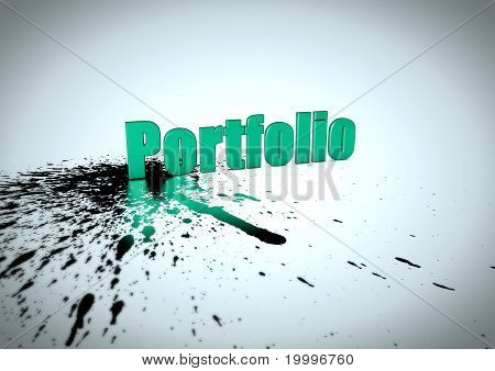 3d Portfolio text reflected in ink splatter