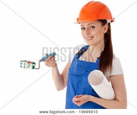 Weibliche Bauarbeiter.