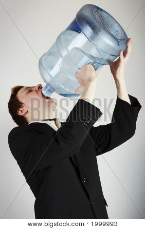 Man With Huge Water Bottle