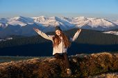 Full Length Shot Of A Happy Young Woman Enjoying Morning Sun In The Mountains Hiking Hiker Sportswom poster