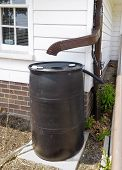 picture of downspouts  - Plastic barrel and downspout for recycling rainwater - JPG