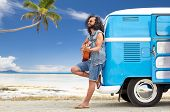 summer holidays, travel, music and people concept - young hippie man playing guitar and singing at m poster