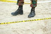 picture of landmines  - Danger mines sign Shallow Depth of Field - JPG