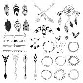 Arrows, Feathers, Hearts And Ornament - Handdrawn Wedding Decor Elements In Boho Style. Vector Colle poster