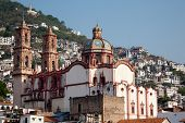 picture of taxco  - Close up view of the beautiful church in Taxco Mexico - JPG