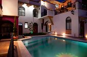 stock photo of taxco  - Pool patio in a beautiful mexican house - JPG