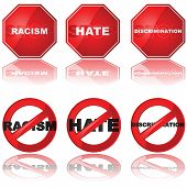 stock photo of stop hate  - Set of icons showing a stop sign and a forbidden sign combined with the words  - JPG