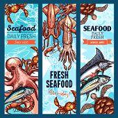 Seafood and fish market banner set. Fresh crab, salmon, shrimp, tuna, blue marlin, octopus, prawn, squid and sea turtle marine animal sketch poster for seafood restaurant menu, food packaging design