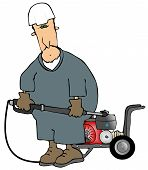 pic of pressure-wash  - This illustration depicts a man wearing coveralls and using a gas powered pressure washer - JPG
