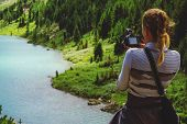Постер, плакат: Photographer Taking Travel Nature Photography