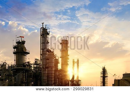 poster of Oil And Gas Refinery Plant Or Petrochemical Industry On Sky Sunset Background, Factory At Evening, M